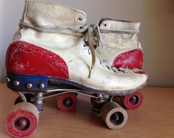 Vintage Hand Painted Wooden Wheels Red White Blue Derby Roller Skates Decor Patriotic 4th of July Collectible