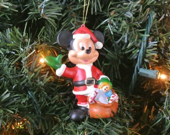 Vintage Mickey Mouse Ornament Christmas Decoration Mickey Mouse Santa Claus Gift For Her
