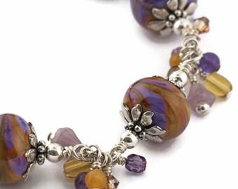 Handmade Bracelet - Art Glass - Sterling Silver - Cha Cha Style - Purple - Gold - Orange - Beaded - Dangles - Lampwork - Colorado Sunset