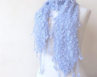 Hand Knit Scarf Light Blue Scarf with tassels  Incredibly Soft Scarf -  Unique Winter Fashion Neck Warmer