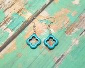 Blue Howlite Clover Earrings - Clearance - Turquoise Earrings - Turquoise Clover - Dangle Earrings