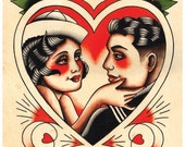 Vintage Sailor & Lover,'Til Death, Tattoo Flash Print