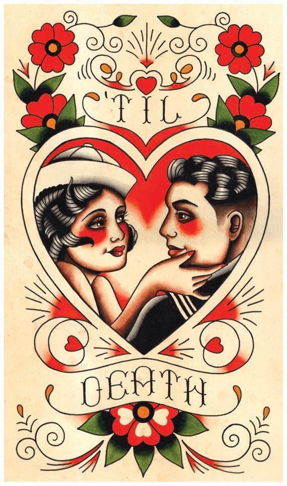 Vintage sailor lover 39 til death tattoo flash print for Vintage tattoo art parlor