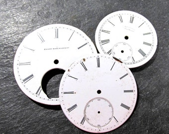 Porcelain Pocket Watch Faces VINTAGE Pocket Watch Face Plates Three (3) Porcelain Watch Faces Plates Jewelry Assemblage Supplies (S15)