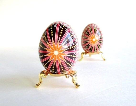 Red and Black Pysanka, Ukrainian Easter egg, batik decorated chicken egg