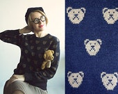 UnBEARably CUTE Wool Navy Dark Blue Novelty Sweater with Adorable Bear Pattern For a Child at Heart Size S