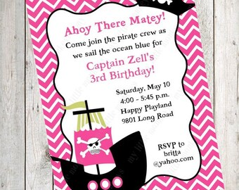10 PRINTED Girl Pirate Invitations with Envelopes.  Free Return Address Labels