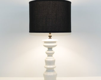 Blanc De Chine Ceramic Pagoda Lamp With Black Shade