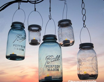 DIY Mason Jar Lantern Lids Wedding Hanging Candle Holders, Flower Vases, Upcycled Garden Party Jar Lids Only, No Jars