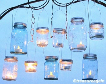 Hanging Mason Jar Lids Outdoor Wedding Candle Holders DIY Mason Jar Hangers Handmade Upcycled Ball Jar Garden Party Lids Only No Jars