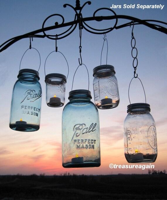 DIY Mason Jar Lantern Lids Wedding Hanging Candle Holders, Flower Vases, Upcycled Garden Party Jar Lids Only, No Jars