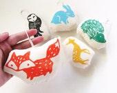 Hand Block Printed Ornaments. Woodland Animals. Set of 5.