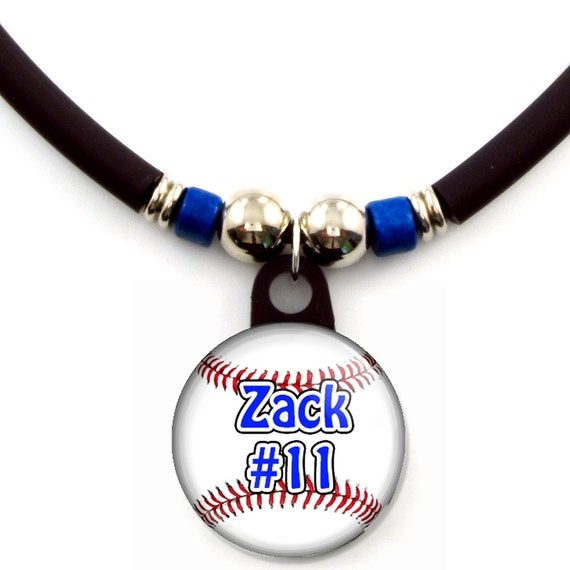 Personalized Baseball Pinback Button Necklace, Custom Baseball Pendant Necklace, Baseball Team Pendant