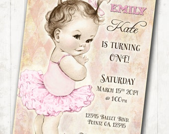 Ballerina Birthday Ballerina Invitation - First Birthday - Tutu - Pink - DIY Printable