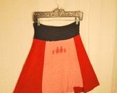 Recycled tee shirt skirt  small with rayon yoga style waistband  S0003