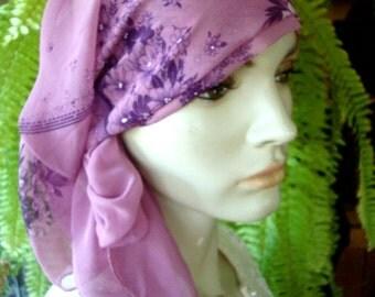 Ladies Mauve Headscarf Prayer Veil Chiffon semi sheer chemo Headwear Headscarf Lilac floral