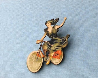 antique french style bicycle brooch . woman on bicycle tie tack . lady cyclist pin . lady in black dress on antique bike