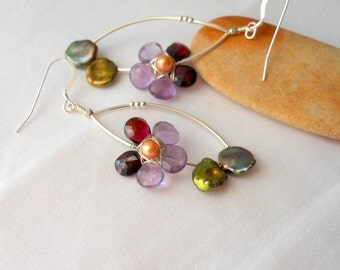 Garnet Amethyst and Pearls Viola Tricolor Wire Wrapped Flower Earrings