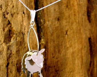 Sheep Necklace, Sheep pendant, Silver, Handmade, Animal Jewellery,  Farm Animals ,Lambs, Sheep Gifts, Gift for animal lovers.