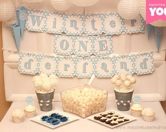 Blue WINTER ONEderland Collection - DIY Printable First Birthday Party Decorations // Winter and Snow 1st Birthday Decor - Instant Download