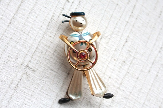 Vintage 1950s Brooch // 40s 50s Hand Painted Sailor at Helm Brooch with Rhinestone // Ships Ahoy