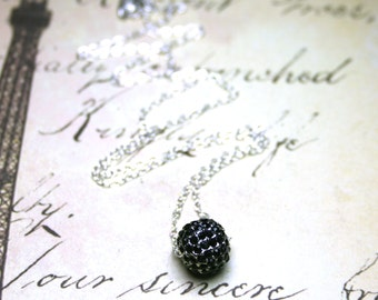 Black Crystal Ball Necklace - The Starlight Crystal Ball Pendant - Swarovski Crystal And Sterling Silver - Pave Jet Crystal Pendant