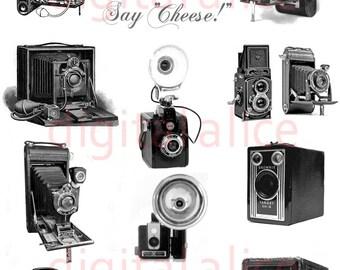ANTIQUE CAMERA PRINT - Digital Download - Collage Sheet Printable - Vintage Cameras
