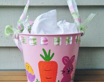 Easter Basket Painted Bucket, Painted with Easter Rabbit, Personalized, Hand Painted Easter Decor, Pink Pail Monogrammed, Name, Easter Gift