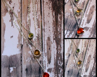 Triple Gem Necklace Choose Your Own Gems Anthropologie Inspired Silver or Gold Lots of Colors to Choose From Ladies Jewelry Special Occasion