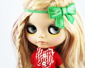 SALE! Holiday Sparkly emerald green bow headband for Blythe dolls - outfit Holiday accessory - doll accessory - Holiday photo prop