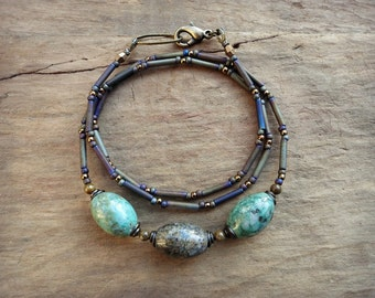 Rustic Chrysocolla Necklace, mint green and brown Bohemian style bead jewelry with blue green stones and seed beads