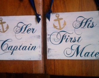 Nautical Wedding Signs, Navy Blue Wedding, Military Wedding Signs, Her Captain & His First Mate with Anchor Beach Weddings