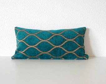 Peacock - Malt Iman Home - Teal - Gold - Chenille - 8x16 pillow cover