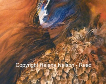Owl Spirit Woman, shapeshifter art by Helena Nelson - Reed, signed open edition fine art reproduction