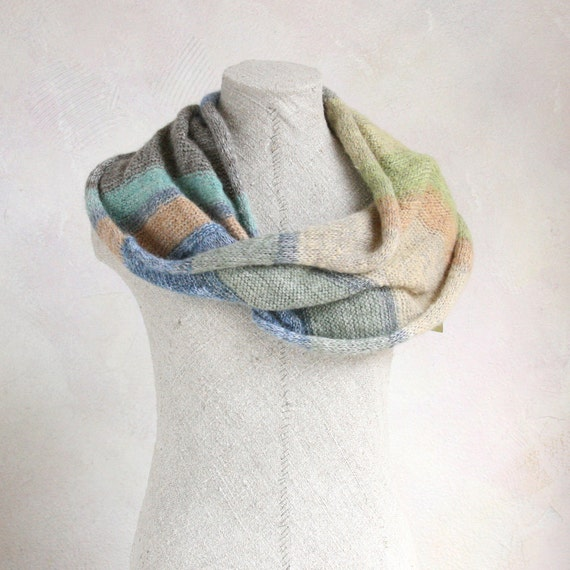 Infinity Scarf Knit Scarf Shawl Wrap Winter Scarf Pastel Scarf Knit Infinity Scarf Women Neck Scarf Latvia Shoulder Wrap Misty Trail Meadow