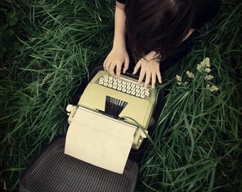 Portrait Photography Dark Old Typewriter Girl On The Grass Muted Colours Green Black Home Decor 8x10 Little Writer...