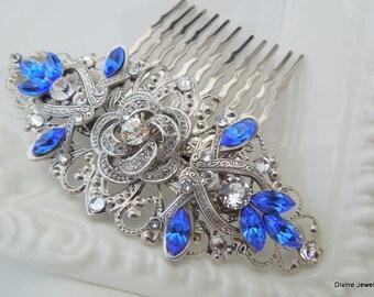 Bridal Blue Swarovski Crystal Wedding hair Comb Wedding Hair Accessories Vintage Style Blue Leaf Rhinestone Bridal Hair Comb ROSELANI