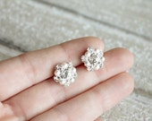Pearl earrings, bridal studs, Swarovski crystal rhinestone earrings - popular seller