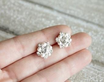 Pearl earrings, bridal studs, Swarovski crystal rhinestone earrings - popular seller