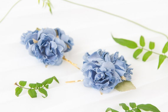 blue rose hair pin set // bridal hair clips, bridesmaid hair accessory, flower bobby pins, rustic flowers, wedding bobbies