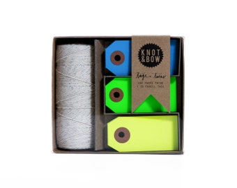 Tag + Twine Box / Silver Cool Neon