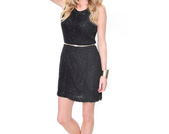 Dusk to Dawn, French Vintage, Black Beaded Mini Dress, from Paris
