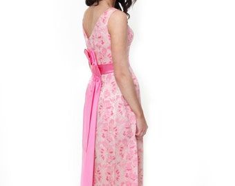Rosella, French Vintage, 1950s Pink Floral Maxi Cocktail Dress