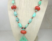 Genuine Southwestern Turquoise Sponge Coral and Sterling Silver Pendant Necklace