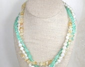 Apatite Citrine Pearl Three Strand Necklace