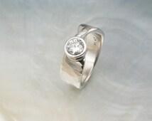 mobius engagement ring - hammered diamond platinum bezel ring - twisted wedding band - artisan handmade