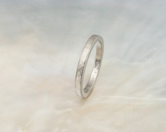 hammered milgrain wedding band, platinum wedding ring -- hand forged