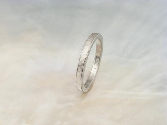 hammered milgrain wedding band platinum wedding by