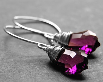 Purple Crystal Earrings, Amethyst Swarovski Crystal Wire Wrapped Baroque Briolette Drops, Sterling Silver Earwires, February Birthstone
