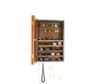 Wall Hanging Shutter Door Jewelry Storage and Organization... Handmade by TangleandFold